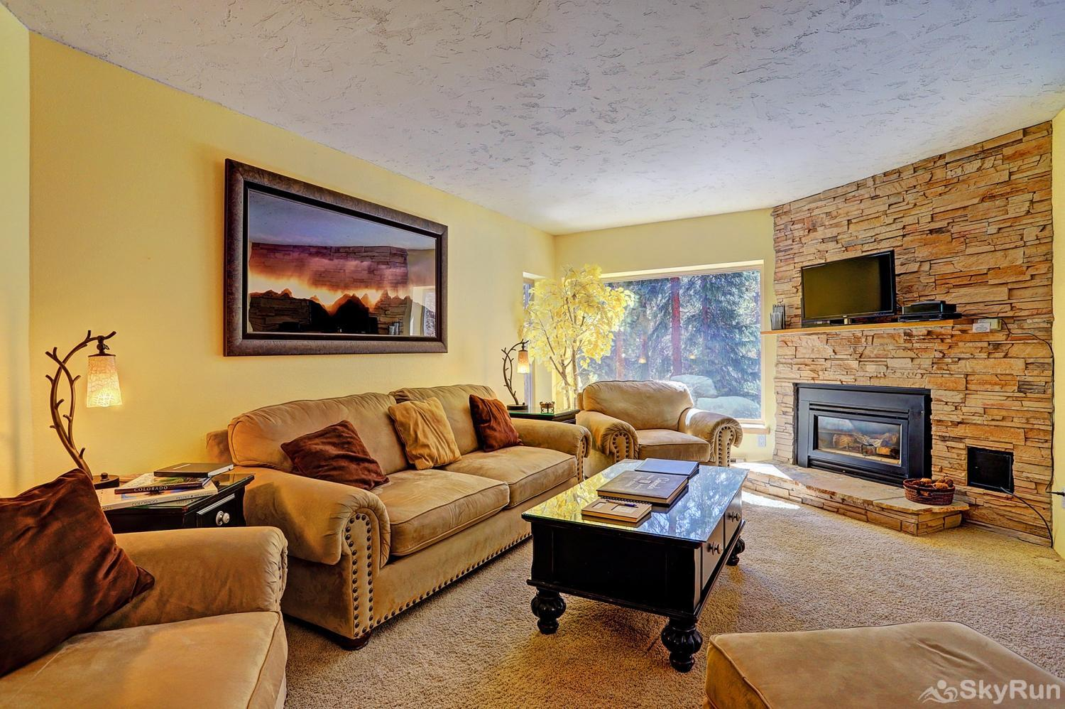 Powderhorn C202 Living room features gas fireplace and flat screen TV
