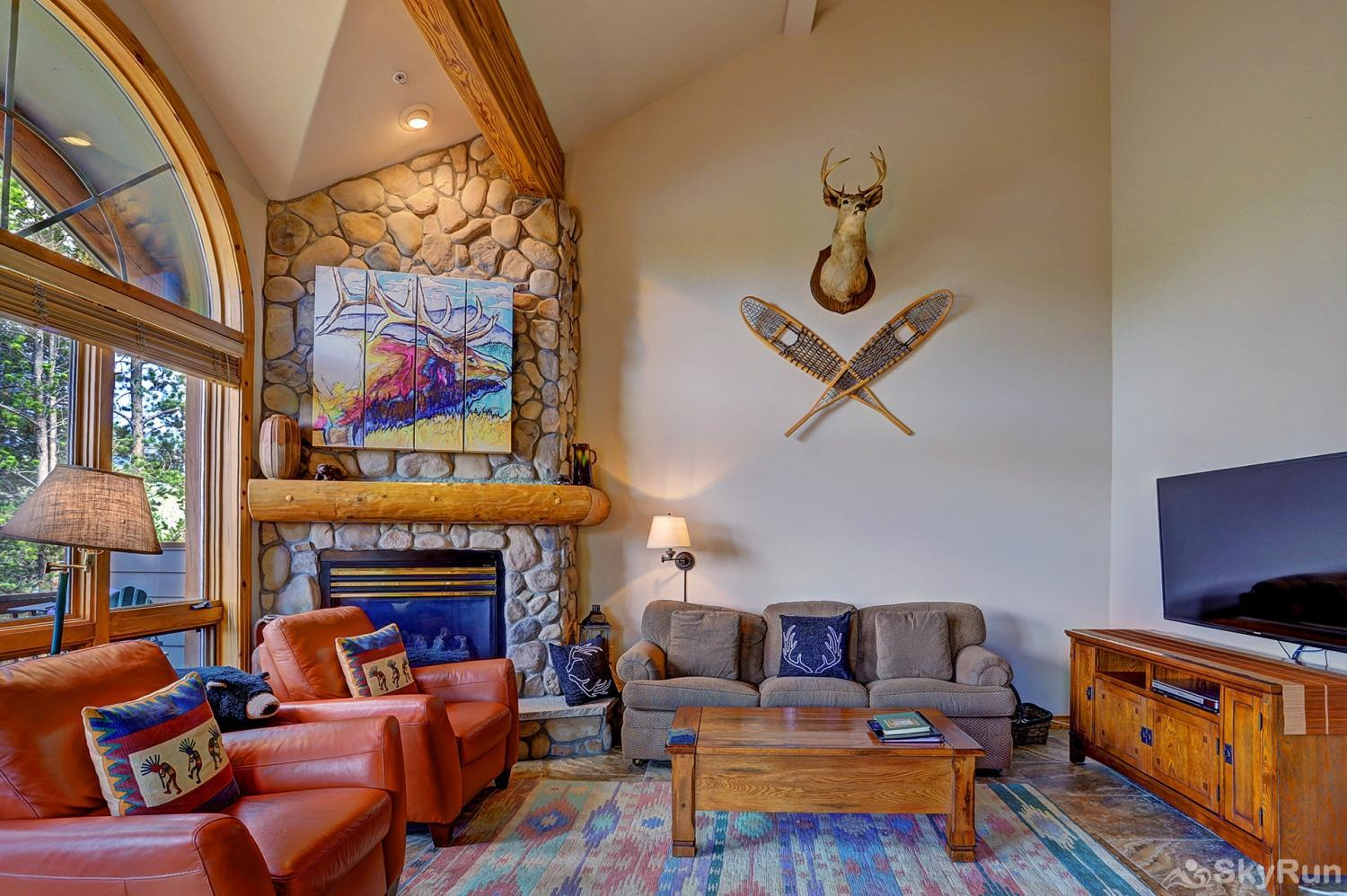 Elk Ridge Retreat Floor-to-ceiling stone fireplace!