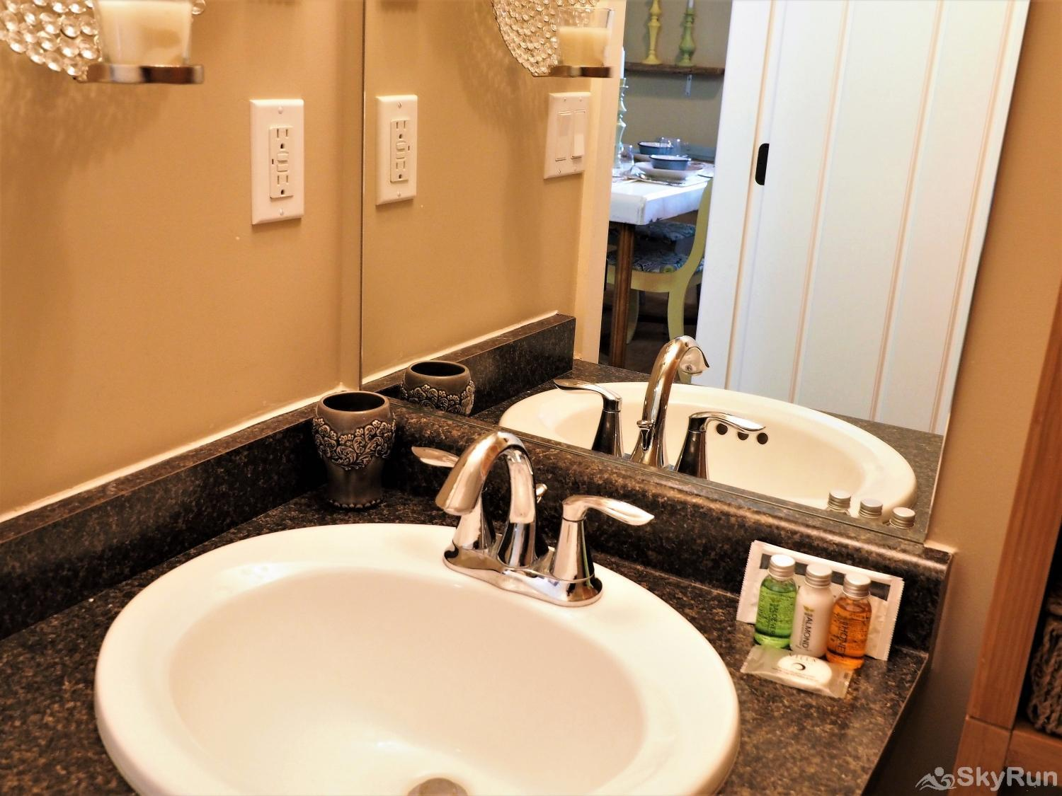 Old Summerland 1 bedroom suite roomy bathroom with lots of space to store your things