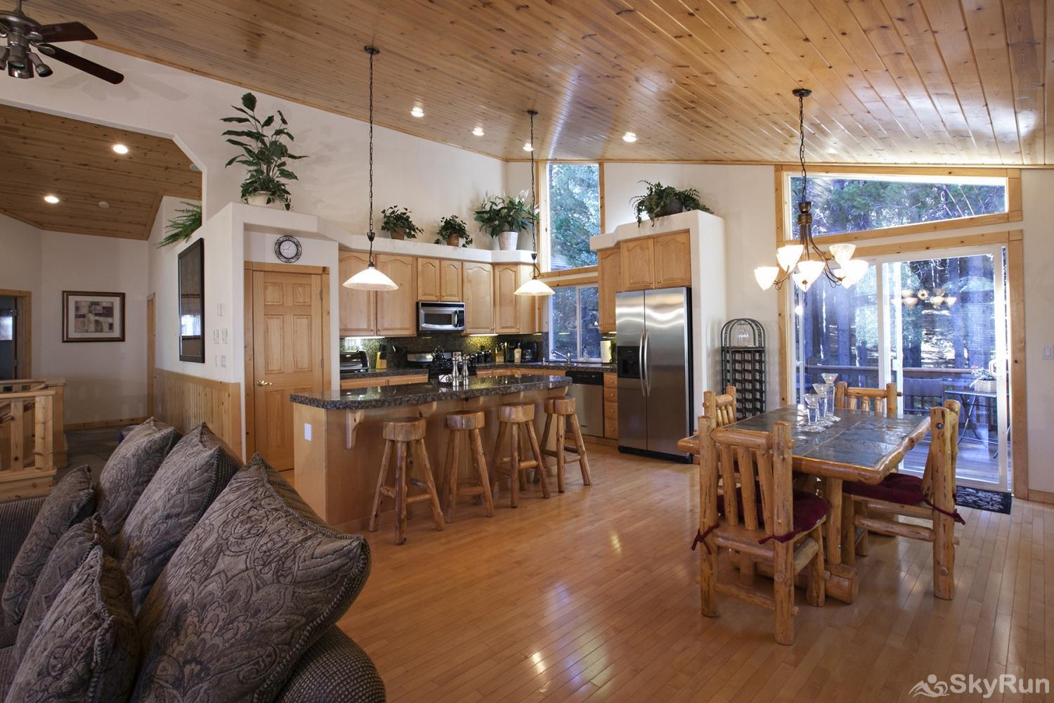Alder Creek Mountain Home at Tahoe Donner Living, Dining, Kitchen Area (alt view)