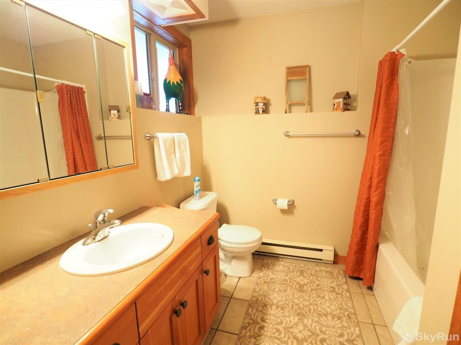 Apex Roost Guest Suite The bathroom is a great space to get ready for the day or night with a large mirror and plenty of counter space