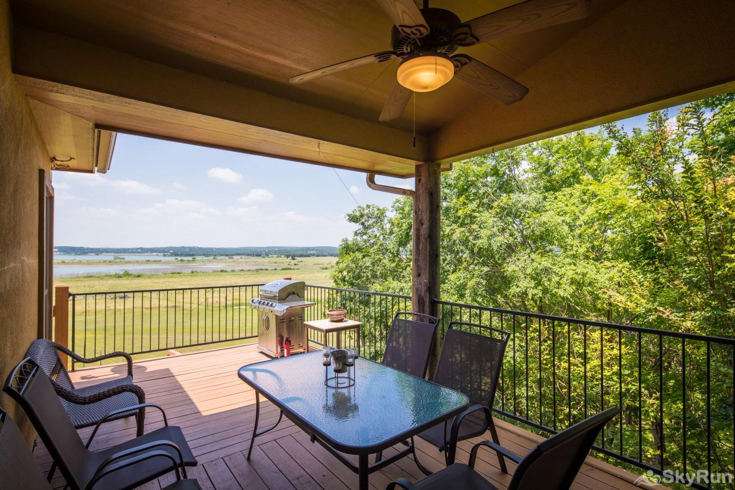 LAKESIDE HAVEN Outdoor Dining on Shaded Upper Deck