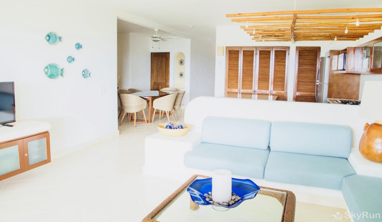 New Beachfront Condo 113 Villa at Exclusive area south of Akumal Secluded Beach Living Room Area