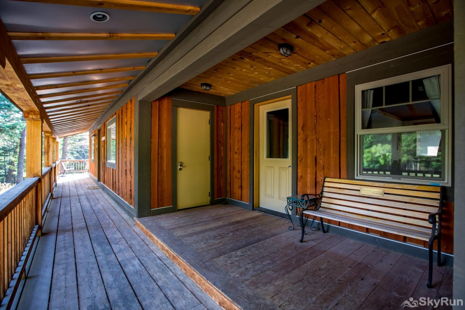 The Nordic House at Stillwater Mountain Lodge Covered porch leading up to the front door of Nordic House