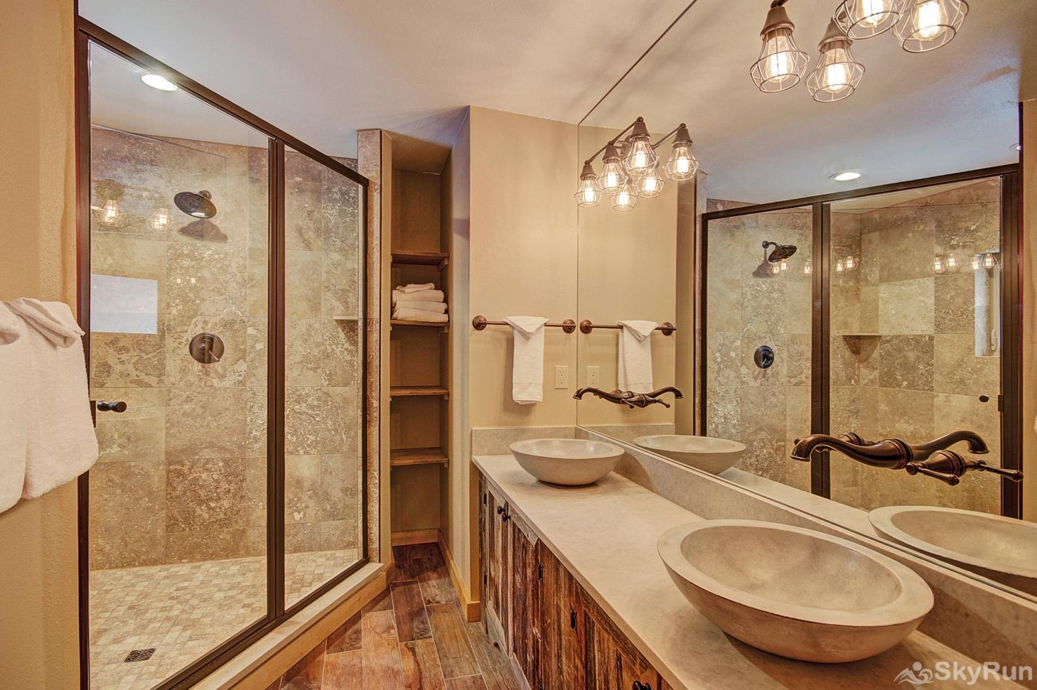 The Sly Fox Hideaway Main level king master ensuite bath