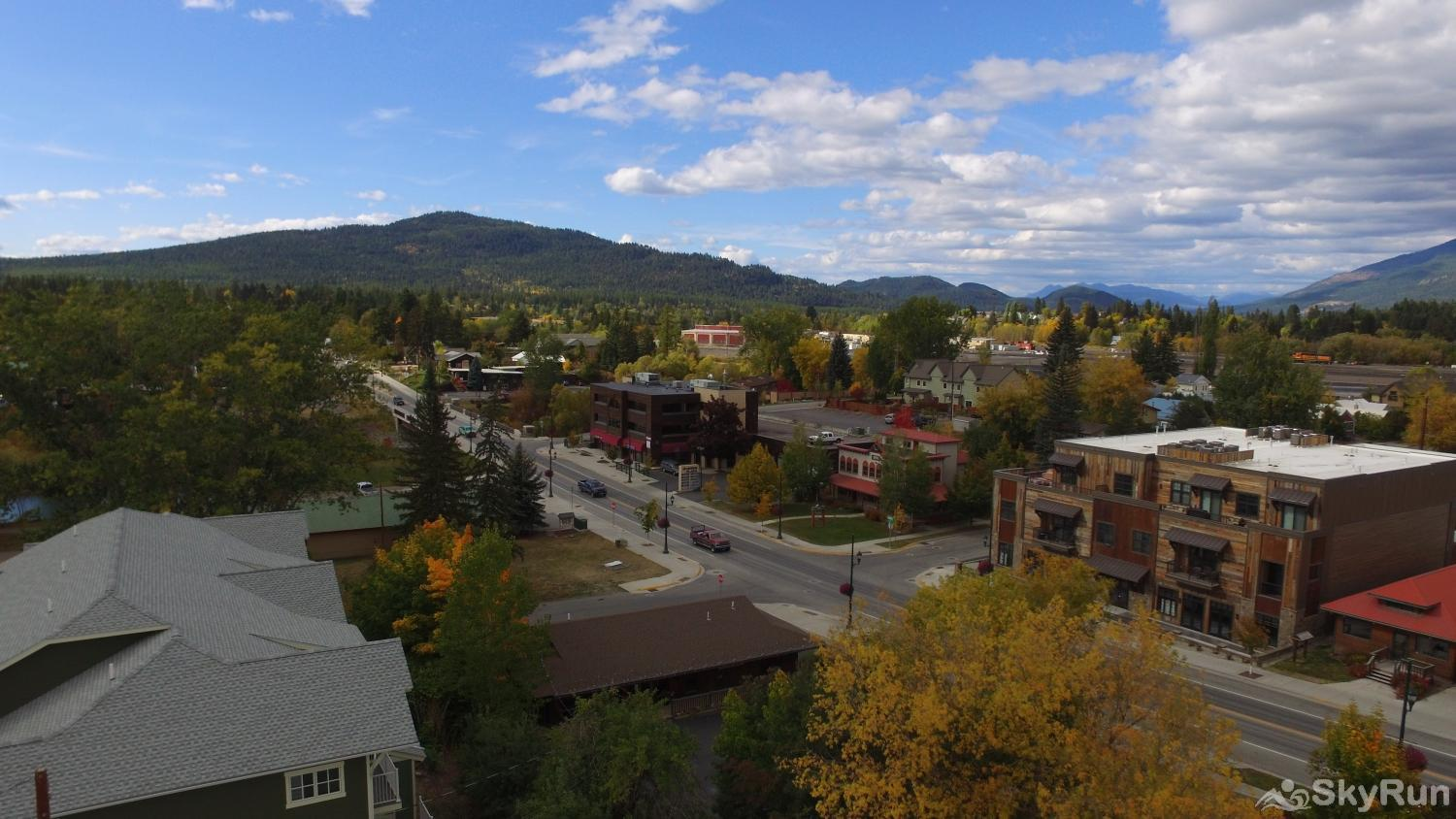 Red Fox Hollow Aerial view of downtown Whitefish looking out toward the golf course and Red Fox Hollow