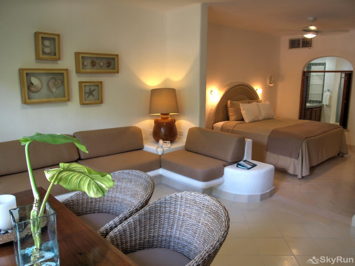 Bliss Akumal Condo Villa 1 Bedroom Garden View 108A Cozy Living Room  Akumal bay by SkyRun