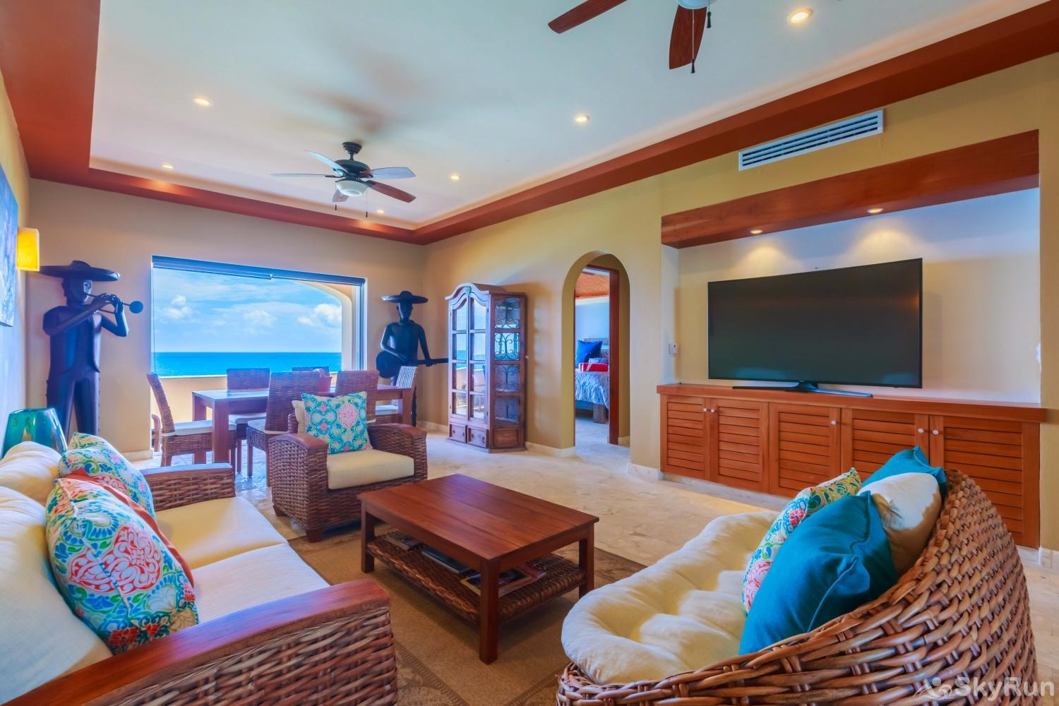 NEW Isla Mujeres Oceanview luxury 3 BR Villa Living and dinning area totally equipped with oceanview