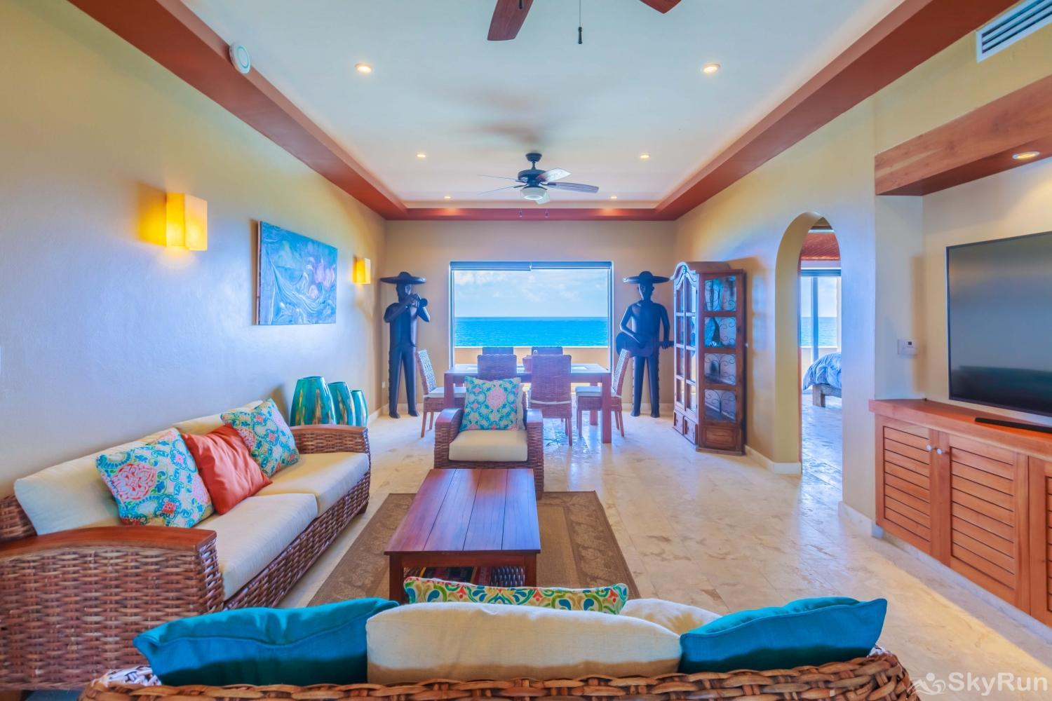 NEW Isla Mujeres Oceanview luxury 3 BR Villa Comfortable living room to relax and watch a movie