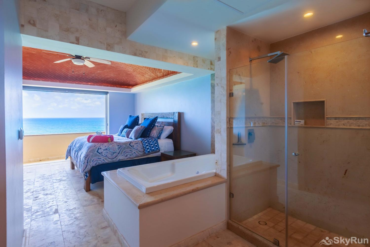 NEW Isla Mujeres Oceanview luxury 3 BR Villa Master king bedroom with ensuite hot tub and spacious bathroom