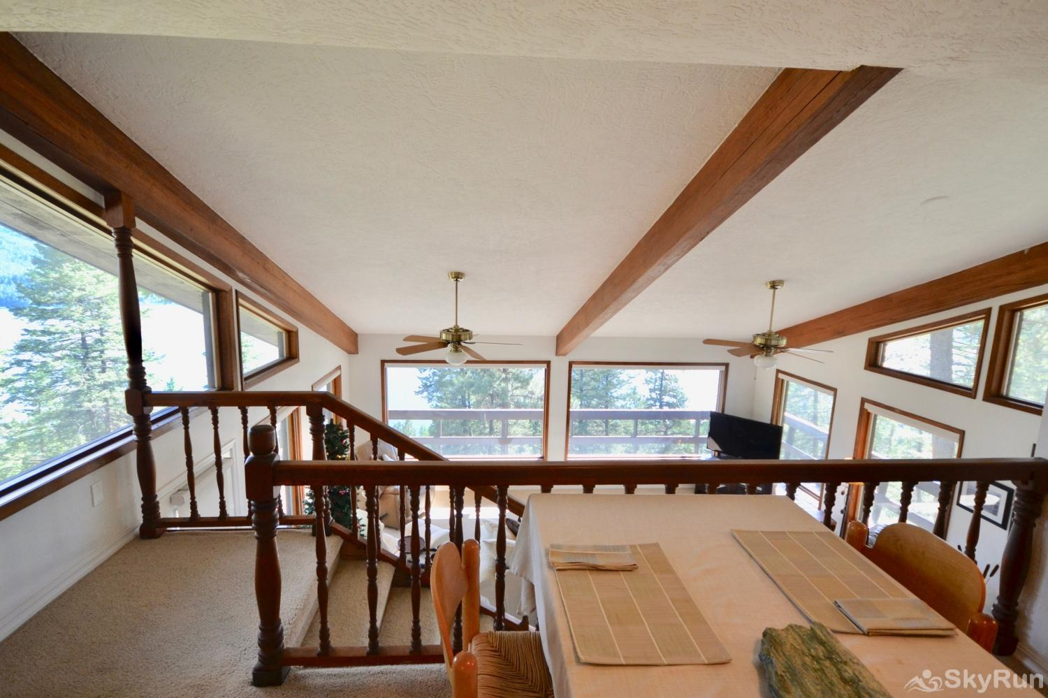 Lodgepole Ridge Cottage The dining area overlooks the living room.