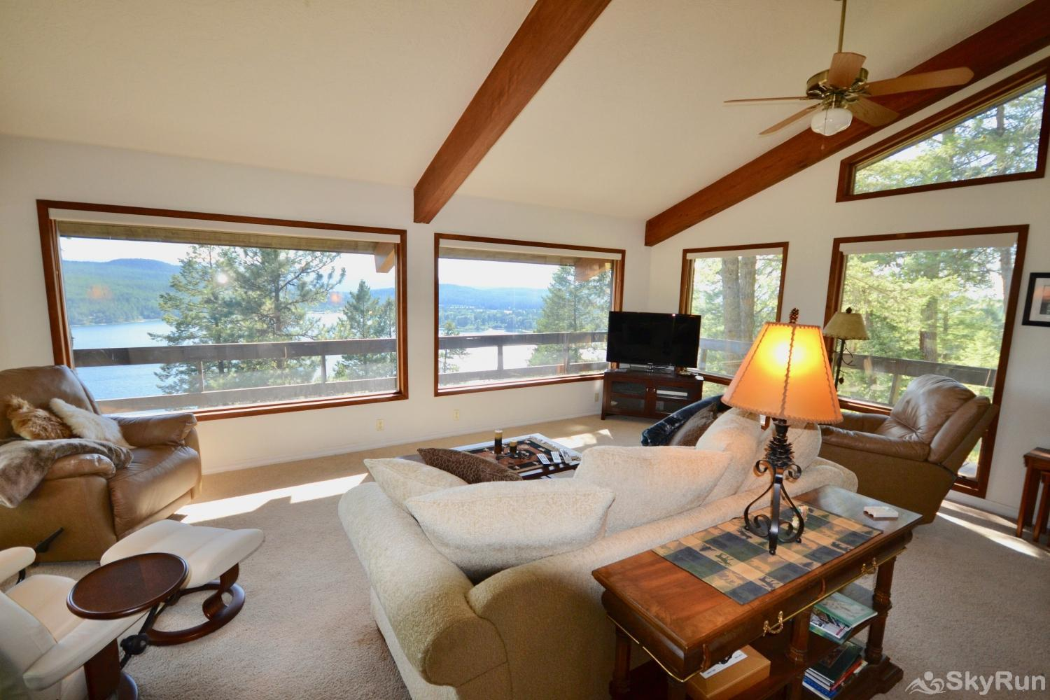 Lodgepole Ridge Cottage Enjoy the amazing view of Whitefish Lake from every spot in the living room.