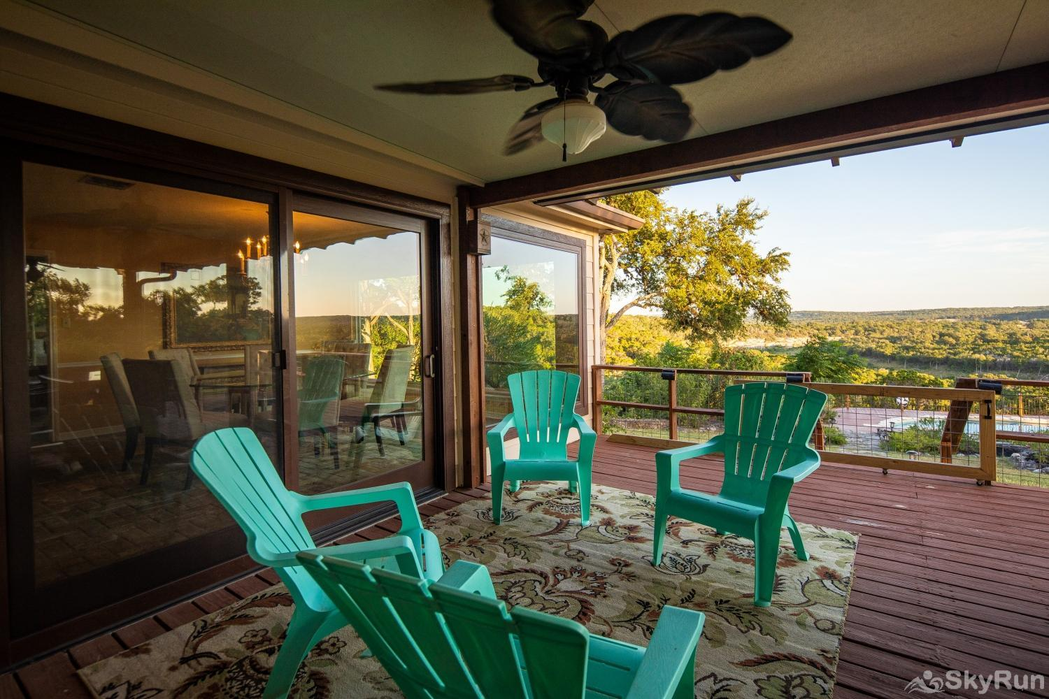VALLEY VIEW Comfortable seating on covered back porch