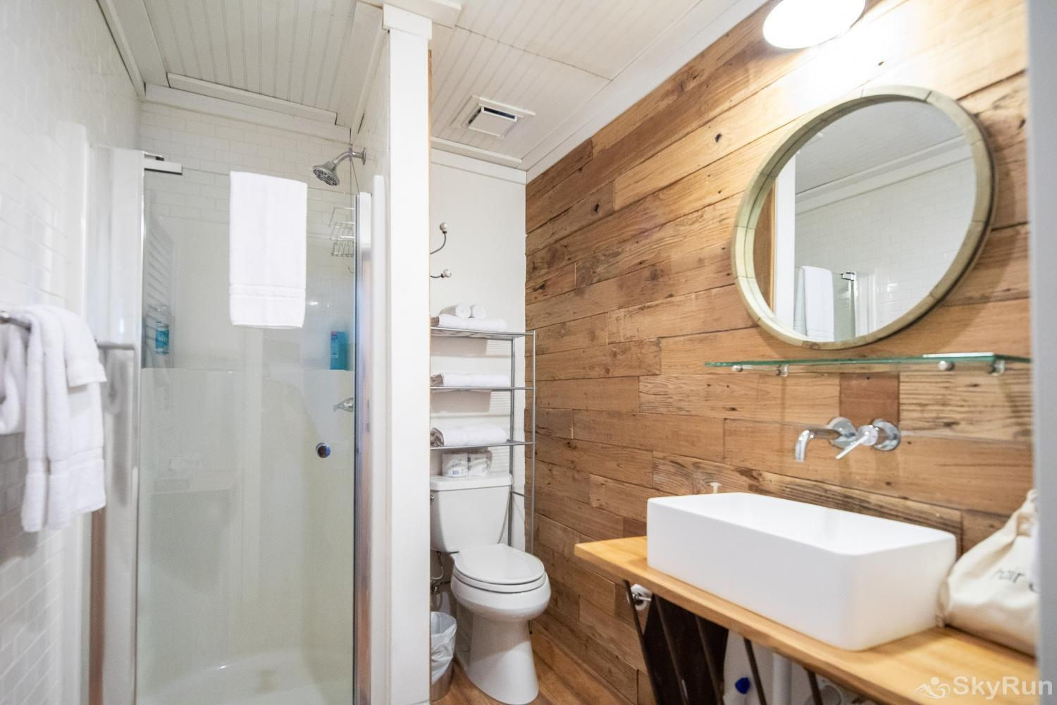 HAYS HIDEOUT Casita Guest House- full bathroom with shower