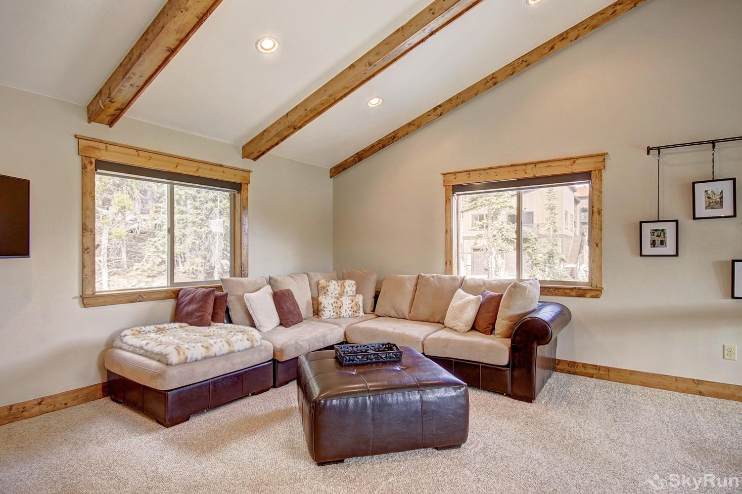 Mountain View Lodge Wrap around couch in upper level loft