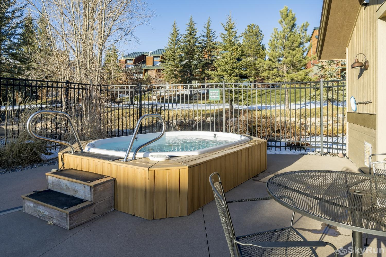Moraine 27 Shared outdoor hot tub is a great place to soak after a day of skiing.