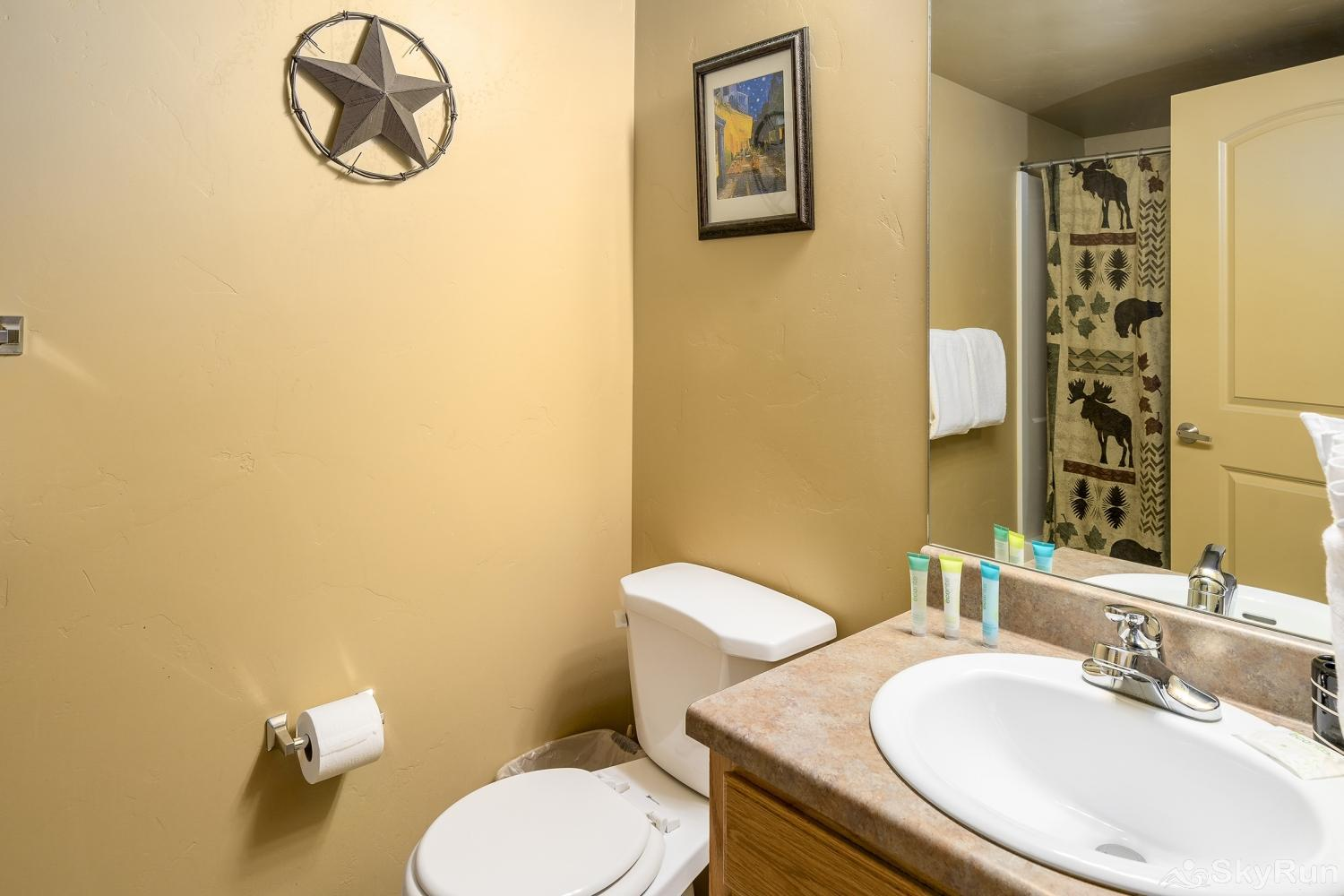 First Tracks 4204 Guest bathroom is located across from the guest bedroom, and has a shower/tub combo.
