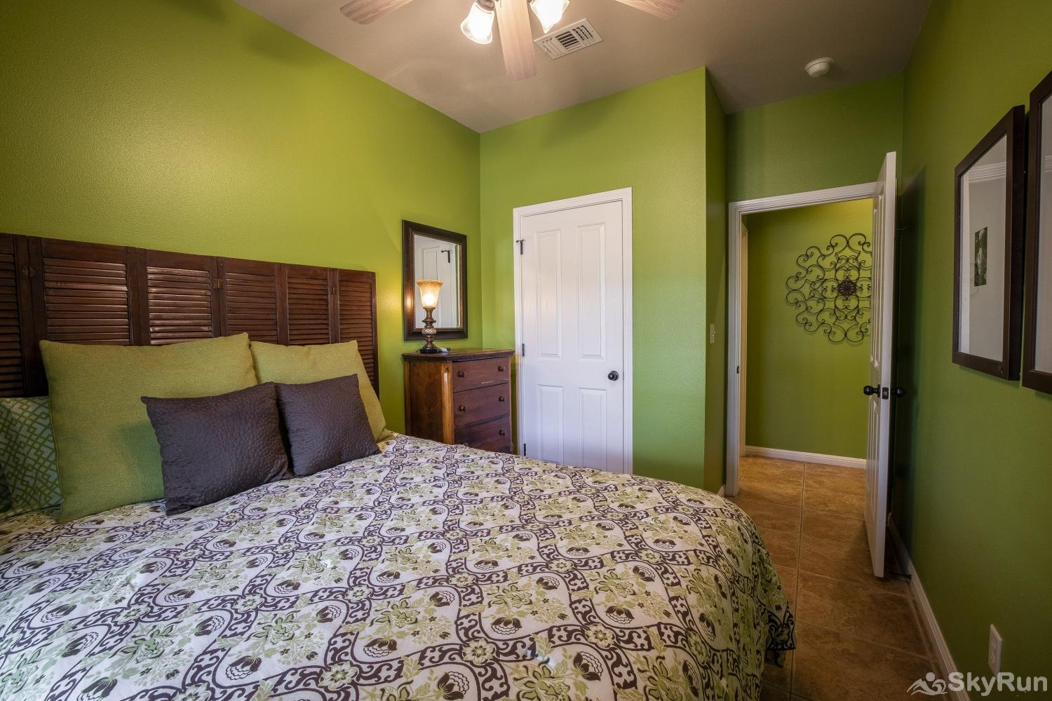 GRUENE GETAWAY First bedroom with comfy queen bed