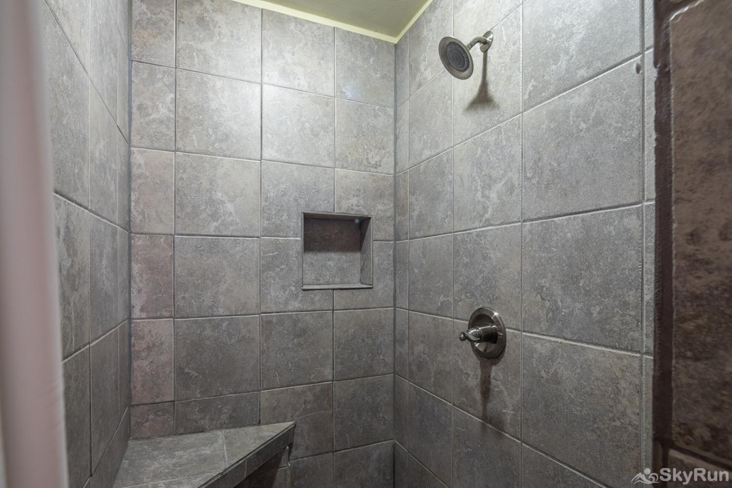 SHEPHERD'S LODGE Tiled, walk- in shower in master bath