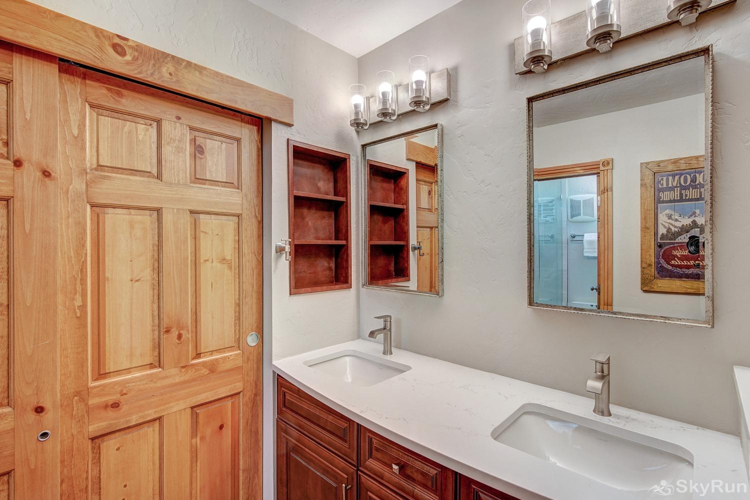 Powderhorn C302 Newly remodeled master bath with double vanity, quartz counter