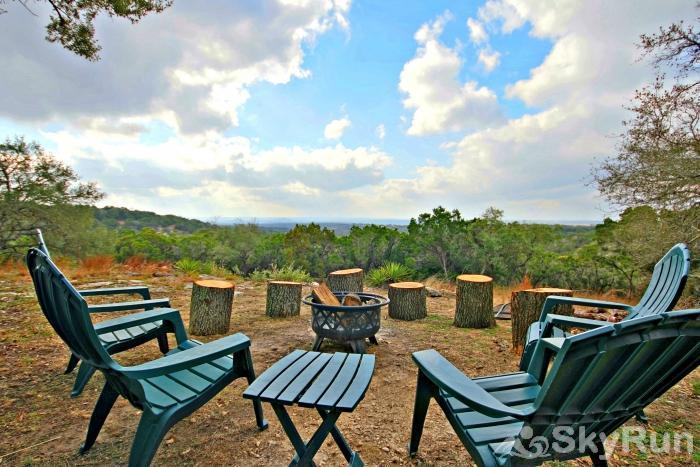 HILLTOP HIDEAWAY AND BUNKHOUSE COMBO Campfire Area and Views from the Highest Point in Wimberley