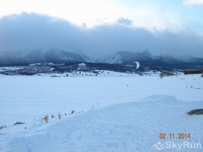 A208 Lake Cliffe Condos  2BR 2BA Sun setting over a snowy Lake Dillon