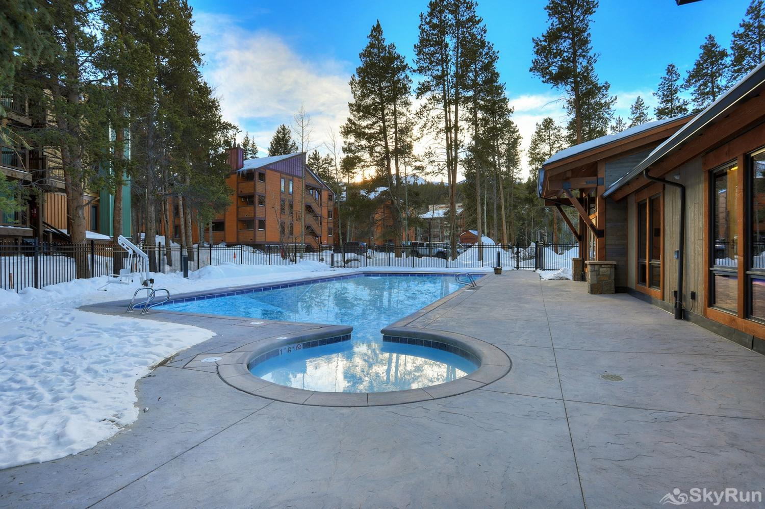 The Lift C112 Outdoor heated pool and hot tubs at the Columbine Pool Complex